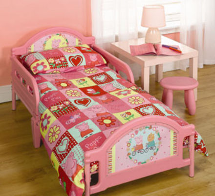 Peppa Pig Polka Dot Toddler Bed - mattress size is 140 x 70 cm
